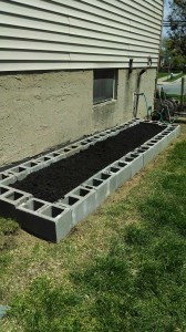 I filled the garden bed with about 12 cubic feet of garden soil.